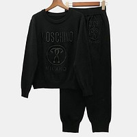 MOSCHINO Trenidng Women Stylish Letter Embroidery Top Sweater Pullover Pants Trousers Set Two-Piece Black