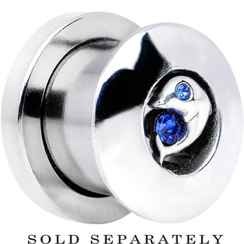 00 Gauge Sapphire Blue Cubic Zirconia Dolphin Threaded Tunnel