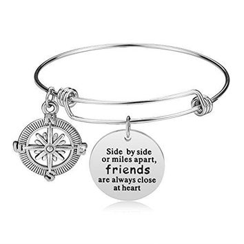 iJuqi Charm Bracelet  Stainless Steel Expendable Inspirational Bangle Bracelets BFF Jewelry Graduation Gifts for Women Teen Girls Sisters