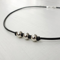 Black leather necklace metal beads necklace unisex short necklace men women