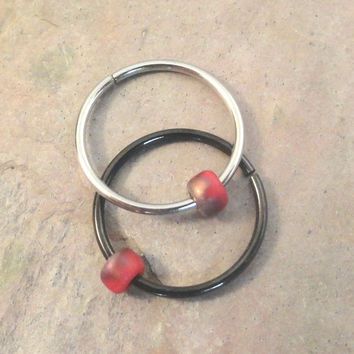 Red and Gold Beaded Cartilage Hoop Earring Septum Tragus Nose Ring Upper Ear Piercing 20 Gauge