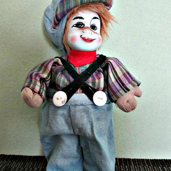 Handmade Porcelain Clown Doll, Collectible clown doll, Home Decor