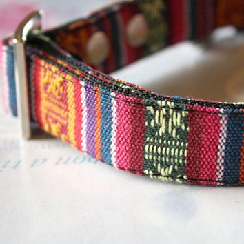 Ethnic Tribal colorful striped woven Dog Collar