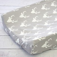 Woodlands Deer Baby Bedding | Mint and White Changing Pad Cover