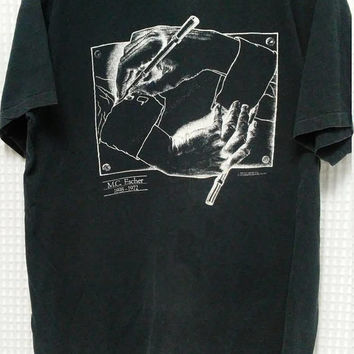 vintage M.C. Escher 80's 90's T Shirt hipster slightly faded black single stitched Sof Tee L/XL artist hands 1898-1972 MC Escher Heirs Hand