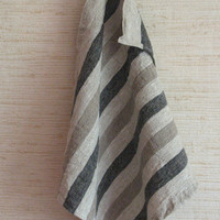 Linen Burlap Gray Brown Dish Towels striped Prewashed Tea Towels set of 2