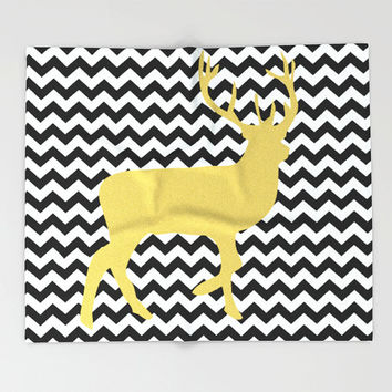 Stripes blanket/Black and white blanket/Deer blanket/Gold Deer Blanket/Modern blanket/Christmas blanket/Elegant blanket/chic blanket/bedroom