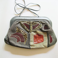 Varon Purse Designer Cross Body or Clutch Patchwork, Suede, Snakeskin Gray