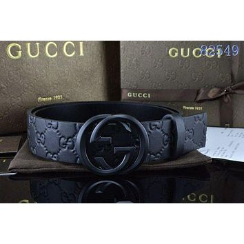 GUCCI Tide brand double G embossed men retro business wind smooth buckle belt