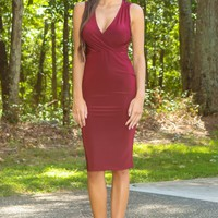 Less Is More Dress-Burgundy