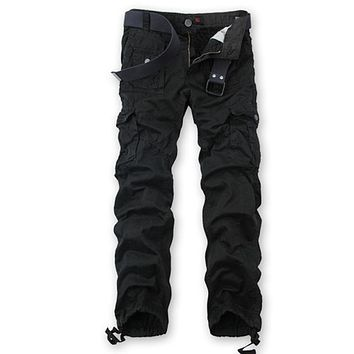 Spring Autumn Casual Cotton Loose Men Cargo Pants