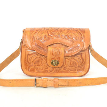vintage 1970s bohemian HAND TOOLED hippie gypsy festival crossbody LEATHER shoulder bag