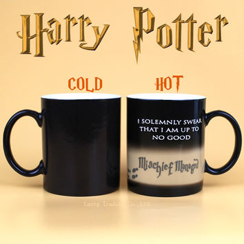 Drop Harry Potter Mug Color Changing Cup,Mischief Managed /Platform 9 and 3/4 Magic Coffee Cup,Sensitive Ceramic Mug