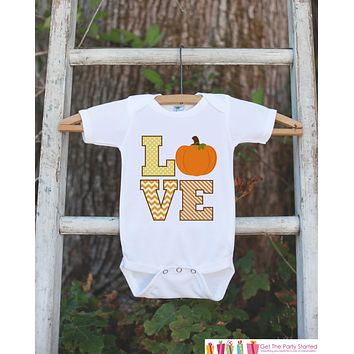 Kids Fall Outfit - LOVE Pumpkin - Thanksgiving Shirt - Baby Novelty Onepiece - Fall Outfit Baby Boy or Girl - Kids Thanksgiving Autumn Shirt