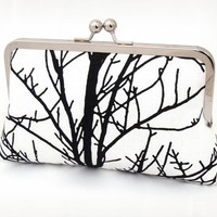 Tree silhouette clutch purse bag with blue silk by redrubyrose