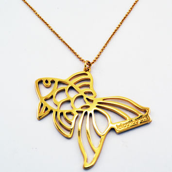 Lola & Grace Gold Tone LONG Necklace Animal FISH NECKLACE Pendant #5182979