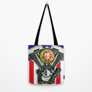 Luso-American Motorcycle Patriot. Tote Bag by Tony Silveira