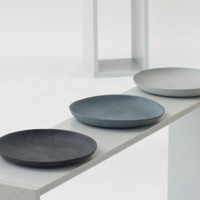 Plates porcelain gray set