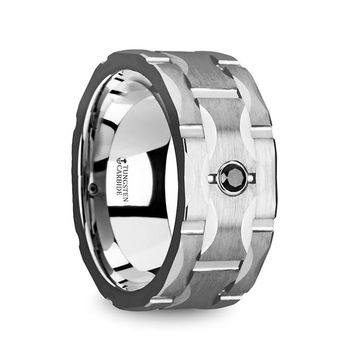 Watch Strap Grooved Tungsten Wedding Ring with Black Diamond
