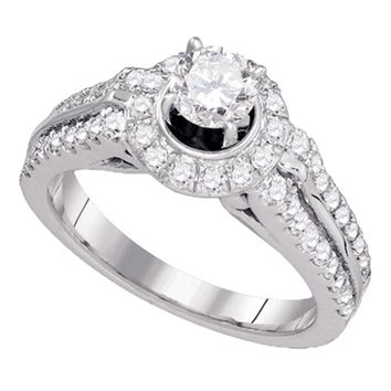 14kt White Gold Womens Round Diamond Solitaire Bridal Wedding Engagement Ring 1-1/4 Cttw