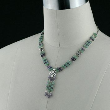 Jade lavender beaded lariat Irish knot necklace Bridesmaids gifts Free US Shipping handmade anni designs