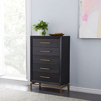 Alexa 5-Drawer Dresser - Black