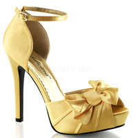 Yellow Pleated Bow d'Orsay Pump