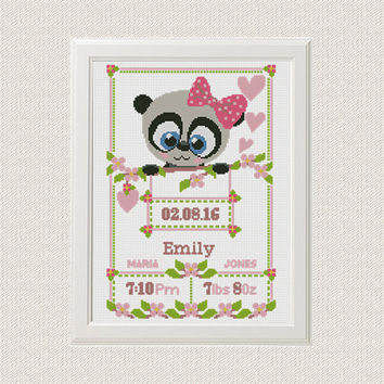 Cross stitch Birth announcement cross stitch pattern baby sampler Panda Flower Cross Stitch pattern pdf  new baby girl birthday gift