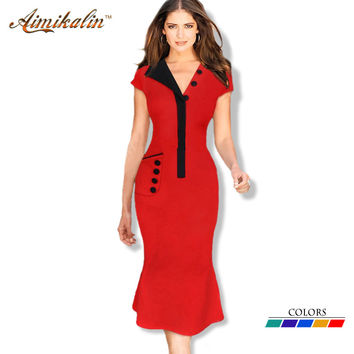 Elegant Summer Dress  V-Neck Solid Long Bodycon Dresses Plus Size Women Clothing Sheath Office Work Wear