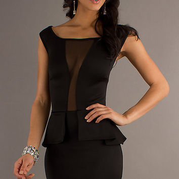 Black Sleeveless Front Cut-Out Mesh Peplum Mini Dress