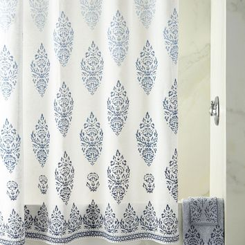 Jalati Indigo Shower Curtain by John Robshaw