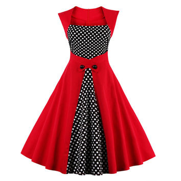 Womens Summer Black Dress White Polka Dots Patchwork Vintage 40s 50's 60s Retro Style Rockabilly Swing Party Dresses robe femme