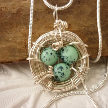 Birds Nest Necklace Bird Eggs Pendant Silver