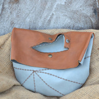 Hand-Cut Fold Over Leather Clutch - Geometric Leather Clutch - Embroidered Leather Purse - OOAK