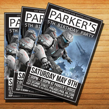 Design Halo Spartan PartyInvitation Cards 4x6, 5x7, Customized