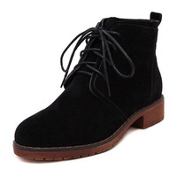 Black Suedette Lace Up Ankle Boots