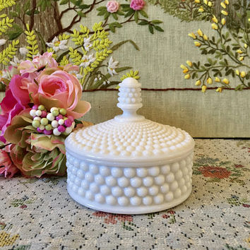 Milk Glass Bowl Milk Glass Candy Dish Hobnail Milk Glass Bowl Vanity Decor Vanity Tray Fenton Hobnail Bowl White Vase White Bowl Lidded Bowl