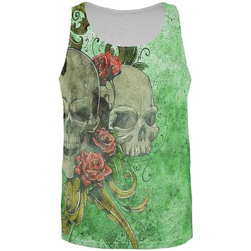 St. Patricks Day Deadly Wild Irish Rose Skull Tattoo All Over Mens Tank Top