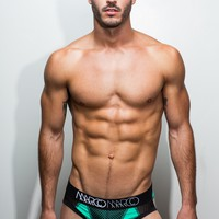 NY Brief (Turquoise w/Black Basketball Mesh)