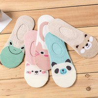 New Free Shipping Women Candy Color Sock Small Animal Cartoon Short Boat Socks Breathable Casual Ladies Funny Sock  Dropshipping
