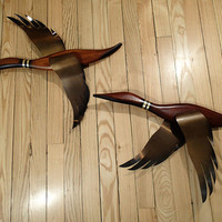 Mid Century Modern Flying Ducks wall decor, teak or walnut wood and brass by Masketeers Design, Artist Gulbrandson