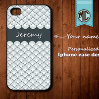 Personalized iPhone Case - Plastic or Silicone Rubber Monogram iPhone 4 4S Case Cover - K017