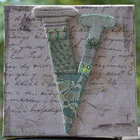 Handmade Crazy Quilting Letter V by miopupazzo on Etsy