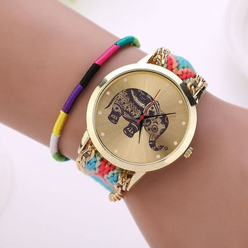 Fashion Women Ethnic Handmade Braided Elephant Pattern Bracelet Dial Quarzt Watches = 5987804545