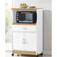 White Microwave Cart on Wheels with Kitchen Drawer and Shelf Space