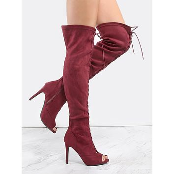 Thigh High Lace Up Stiletto Boots BURGUNDY