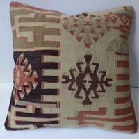 16x16 Decorative Kilim Pillow VintageCushion Covers wool Kilim Pillow Pillowcase Striped Kilim Pillows Throw pillow Turkish pillow Anatolian