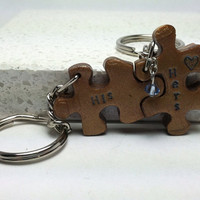 His and Hers Puzzle Pieces Couple Key chains Interlocking Polymer Clay Key chains with Crystal Made To Order