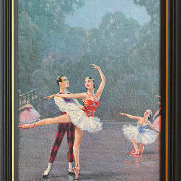 Framed Ballerina, Ballerina Art, Vintage Print, Framed Print, Male  Female, Art Nouveau, Ballet Dancers, Blue, Classical Ballet, Home Decor