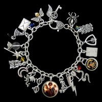 Harry Potter Themed Charm Bracelet, Golden Snitch
